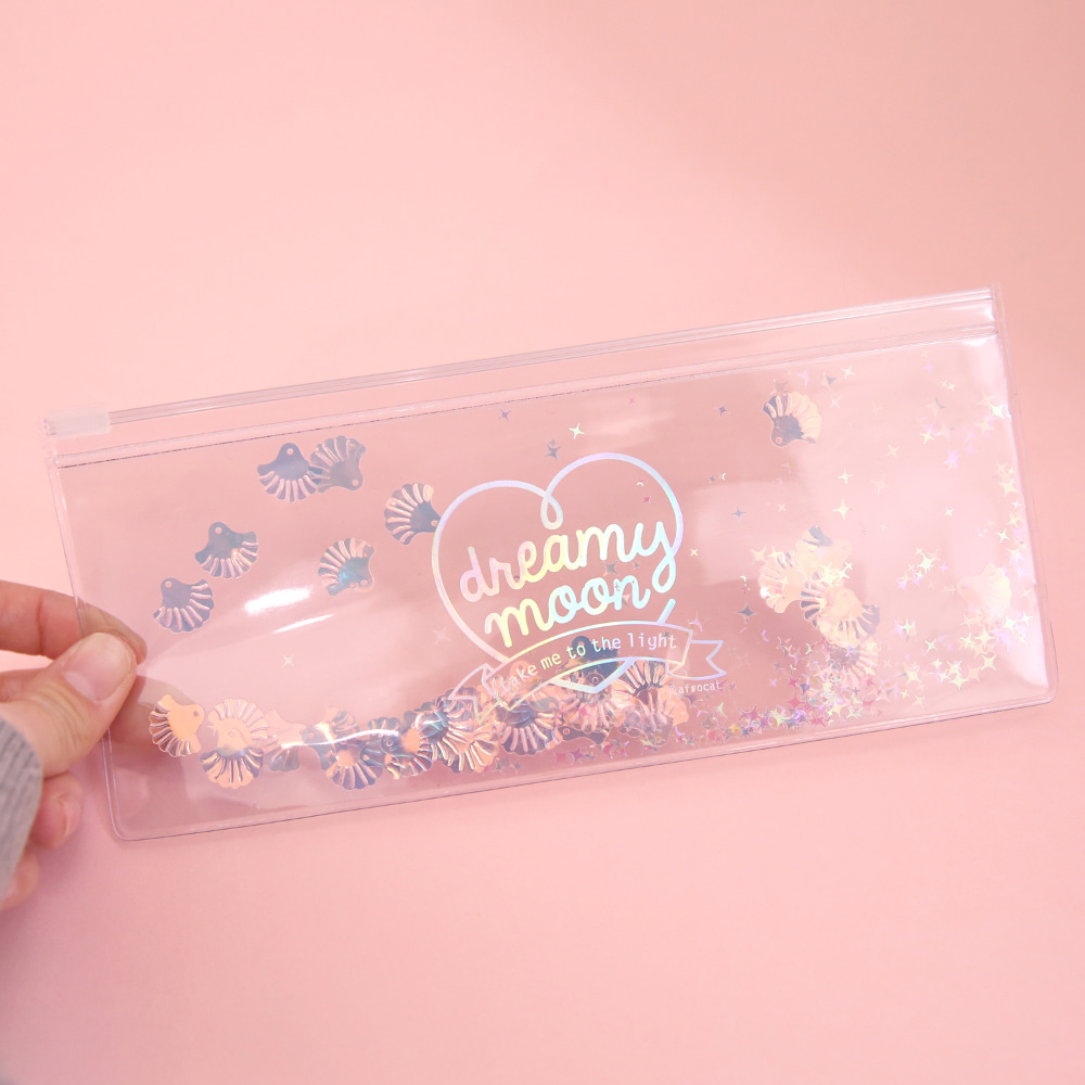 Pinky holic clear pouch_P_9.Glitter_ Pink Shell