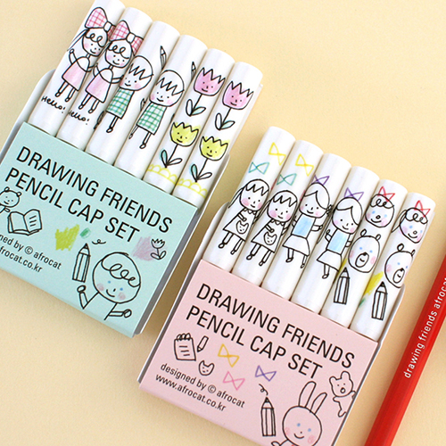 drawing friends pencil cap set