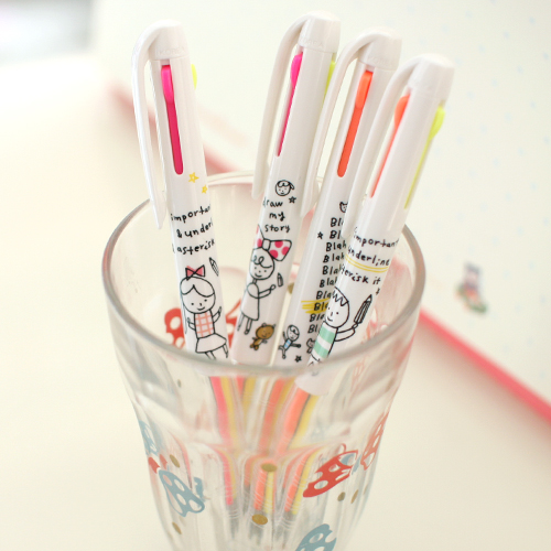 3 color multi pen_drawing friends[fluorescent + black]