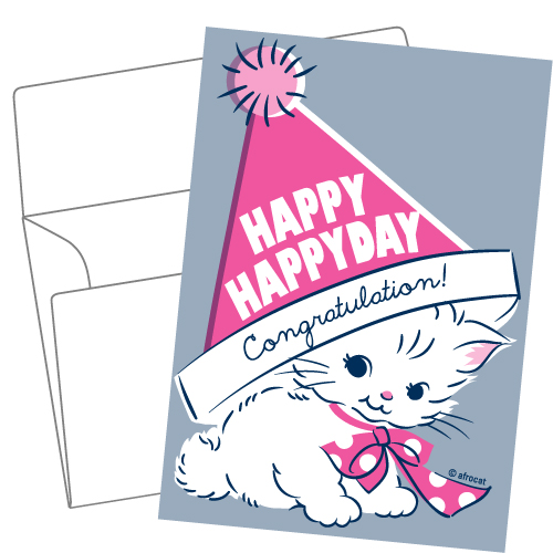 Lithography greeting card 20 Happy cat