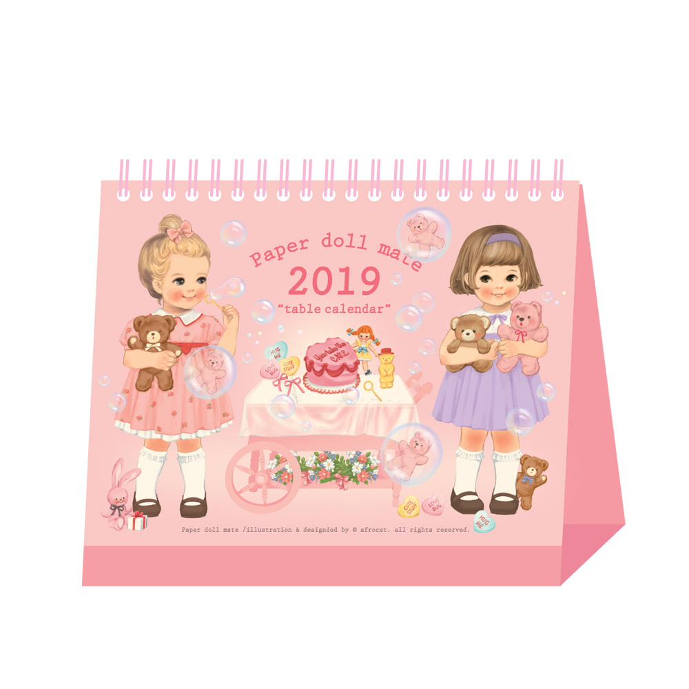 paper doll mate table calendar 2019