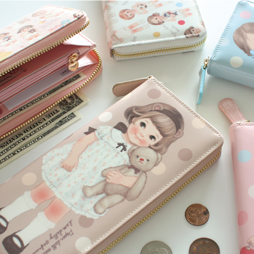 oil-cloth zipper walletpaper doll mate