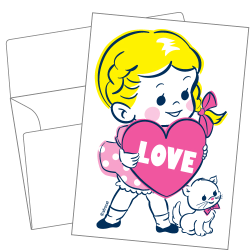 Lithography greeting card 17 Chubby cheeks girl
