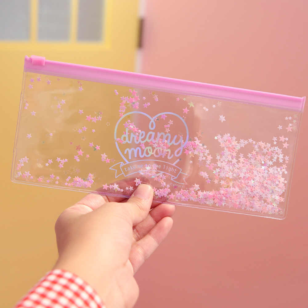 Pinky holic clear pouch_P_7.Glitter_Étoile rose